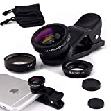Yarrashop® 3 in 1 Mobile Phone Camera Lens Kit , Fish Eye Lens +Macro Lens + Wide Angle Lens for iPhone ,Samsung, iPad ,Snoy,Huawei and Other Smart Phones (Black)