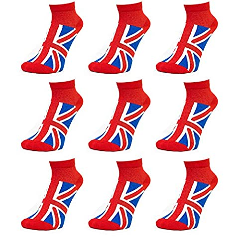 Ladies Union Jack Trainer Socks - Red-Blue-White (9 Pack)