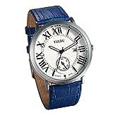 JewelryWe Herren Damen Armbanduhr, Fashion Kalender Analog Quarz Business Casual Uhr mit Weiß Römischen Ziffern Zifferblatt und Blau Leder Armband