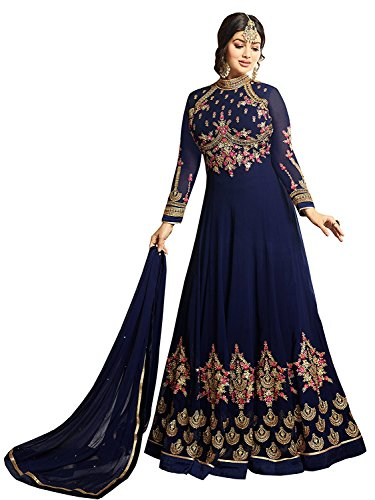 Aryan Fashion Women Georgette Anarkali Semi-Stitched Salwar Suit (RUDRAZONE_AONE_106119_Blue_Free Size)