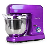 Klarstein Gracia Viola Kitchen Food Mixer with 10-Stage Adjustable Working Speeds and Various Attachments Easy-to-Clean (1000W, 5L Bowl for Max. 2kg Dough, Extremely Quiet) Purple