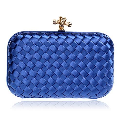 ZYXB Lässige Ribbon Clutch Damen Geldbörse Kette Handtaschen Abendtasche Lila Braut Dame Hochzeitsgesellschaft Kulturbeutel Handtaschen Clutch,Navy blau -