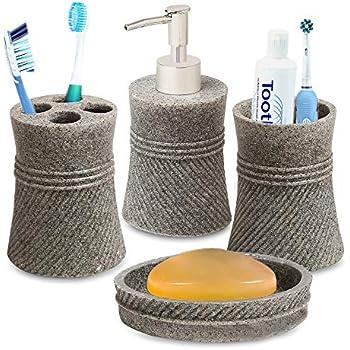 Smile Mom Bathroom Accessories Set (4 Piece) with Soap Dish, Toothbrush Holder, Liquid Bottle Dispenser, Tumbler; Best Decor for Home Toilet Kitchen (Grey)