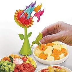 Absales Fancy Fruit Fork Set Blossom Sunflower and 5 Humming birds Fork