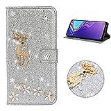 Miagon Hülle Glitzer für Samsung Galaxy A20e,Luxus Diamant Strass Hirsch PU Leder Handyhülle Ständer Funktion Schutzhülle Brieftasche Cover,Silber