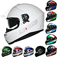 *Venta de Año Nuevo* Leopard LEO-828 Cascos Integrales de Moto Motocicleta Bicicleta ECE 22-05 Aprobado + Doble Visera #03 Blanco S (55-56cm)
