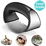 Mobily Durable 304 Stainless Steel and Plastic Portable Garlic Crusher Ginger Mincer Squeezer Press Rocker Kitchen Chopper with Handle (3.94x2.7-Inches, Black)