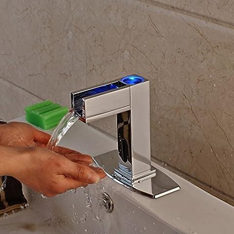 TougBoo Led Licht automatische berührungslosen kostenlose Sensor Wasserhahn Bad Wasserbecken kaltes Wasser Waschbecken Tap Armaturen mit Loch Abdeckplatte