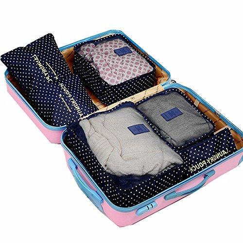 Marosoniy® Kleidertaschen-Set 7 Wasserdichte Reisetasche in Koffer Wäschebeutel Schuhbeutel Kosmetik Aufbewahrungstasche Reisegepäck Veranstalter (Blau Star) Weiß + Sterne
