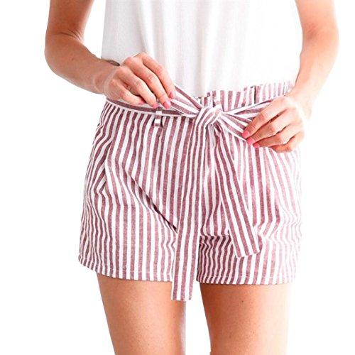 TWIFERFrauen Streifen Hot Pants Lässig Verlieren Mädchen Sommer Strandhosen Shorts Hosen - Große Kinder Usa-basketball-shorts