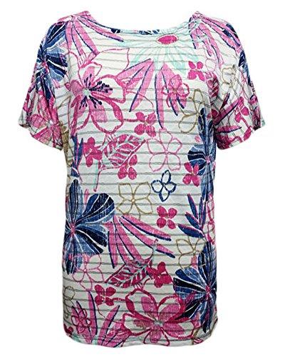 Anyu Girocollo Tops A Maniche Corte T-Shirt da Donna Slim Fit Camicie con Stampa Floreale Fiore Rose