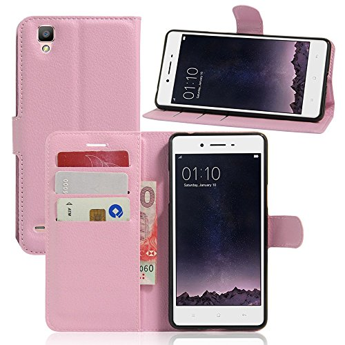 Tasche für OPPO F1 (5 zoll) / OPPO A35 Hülle, Ycloud PU Ledertasche Flip Cover Wallet Case Handyhülle mit Stand Function Credit Card Slots Bookstyle Purse Design rosa