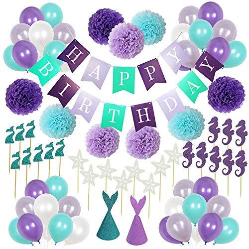 Leegoal Meerjungfrauen-Partyzubehör, 76 Stück Geburtstagsparty-Dekorationen, Luftballons für Babyparty, Braut-Party, Dekoration für kleine Meerjungfrau, Party unter dem Meer, Arielle, Geburtstag Party Banner Supplies für Mädchen