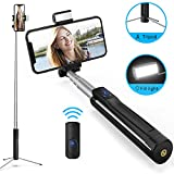 Bluetooth Selfie Stick mit Licht Stativ und Fernbedienung-Luxsure 360° Rotation...