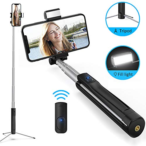 Bluetooth Selfie Stick mit Licht Stativ und Fernbedienung-Luxsure 360° Rotation Selfie-Stangen für Samsung Galaxy S10 S10+ S9 S8 S7 S6 iPhone XS Max X XR 8 7 6s Plus und alle Android Smartphones 110cm