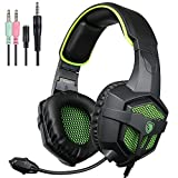 SADES SA807 New Version Xbox One PS4 PC Gaming Headset Game Headphones with Microphone for For New Xbox one PS4 Laptop Mac Tablet iPhone iPad iPod(Black&Green)