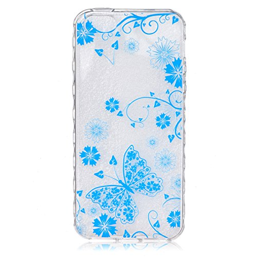 iPhone 6S Hülle,iPhone 6 Hülle,iPhone 6S Case,EMAXELERS Christmas Series Hard PC Case Phone Holster Transparent Handy-Tasche Hülle Cute Santa Claus Muster Glitter Flowing Bling Hülle Etui Schale Case  Blue TPU 5