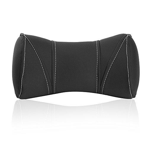 Preisvergleich Produktbild Tanyoo Auto Kopfstütze,  Auto Nackenkissen mit Leder & Memory Schaum Auto Kopfstütze Kissen atmungsaktiv (Farbe: Space Grau)