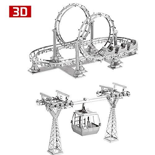 MTu 2pcs 3D Metall Puzzle Achterbahn Cable cars Modell DIY 3D Laserschnitt Modell-Bausatz Spielzeug (3d-modelle)
