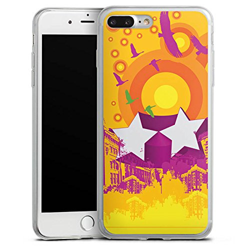 Apple iPhone 8 Slim Case Silikon Hülle Schutzhülle Vögel Sterne Stadt Silikon Slim Case transparent