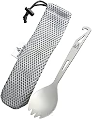 Titanium Spork Camping Utensil with Spoon, Fork & Bottle Opener - Ultra light yet strong for Camping, Hiking, Bushcraft, Fishing, Walking and BBQ's. Outdoor cutlery at its best. Free mesh carry case included.