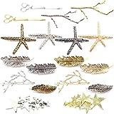 MOAMUN Lot de 18 pinces à cheveux vintage en alliage pour cheveux en forme d'étoile de mer avec branches d'arbre en métal et feuilles, pinces à cheveux géométriques creuses pour femme