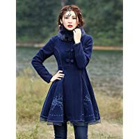 La nostra storia di donne sta andando fuori CoatEmbroidered Vintage Stand manicotto lungo inverno rayon blu / Poliestere di spessore,blu,L