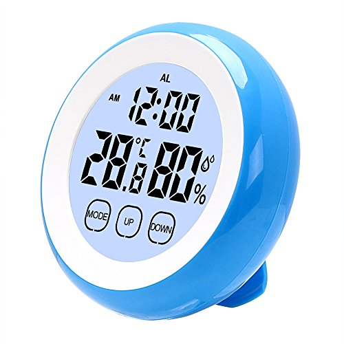 iTimo Digitales LCD-Thermometer Hygrometer Uhr mit Hintergrundbeleuchtung Innen-Wetterstation Elektronische Temperatur Luftfeuchtigkeitsmesser (Blau)