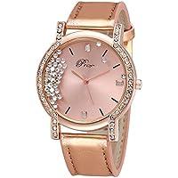 zantec Mujer Flujo de moda reloj de pulsera de lujo del Rhinestone redondo Dial analógico relojes de cuarzo con correa de piel