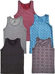 SGS Pack de 5 camisetas interiores de algodón para niño, sin mangas, 2-14 años