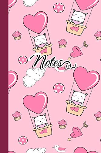 Notes: Novelty Lined Notebook | Journal To Write In: Cute Flying Kitty Cat In Pink Air Balloon for Girls and Women - Humor Womens Pink T-shirt