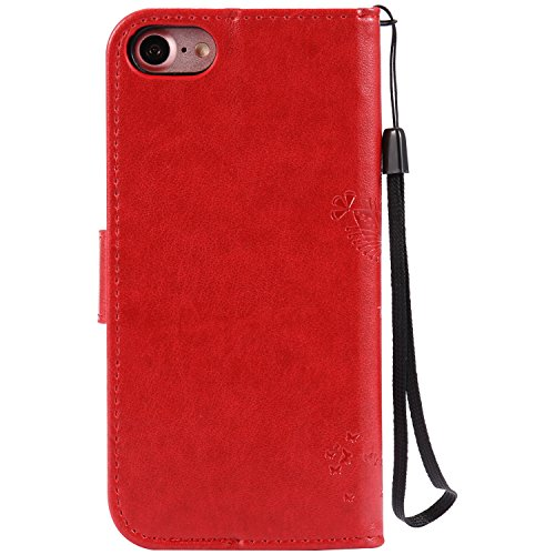 Coque iPhone 8, iPhone 7 Coque, Voguecase Coque de Protection en PU Cuir Support Flip Housse Étui Cover Case avec Porte-Cartes pour Apple iPhone 7/iPhone 8 4.7 (Arbre-Rouge Marron) + Gratuit Stylet à  Arbre-Rouge