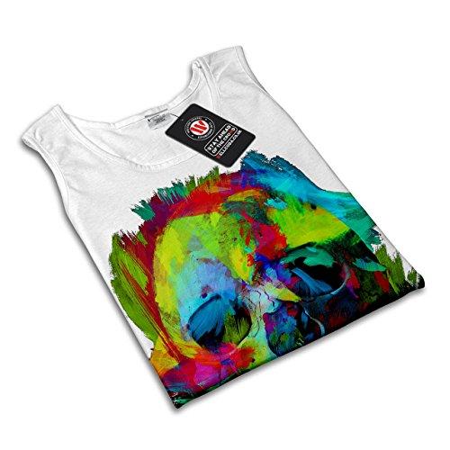 Bunt Farbe Rock Schädel Festival Damen S-2XL Muskelshirt | Wellcoda Weiß