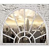 murando - Fototapete Fenster nach New York 350x256 cm - Vlies Tapete - Moderne Wanddeko - Design Tapete - Wandtapete - Wand Dekoration - City Stady New York Fenster d-A-0043-a-b