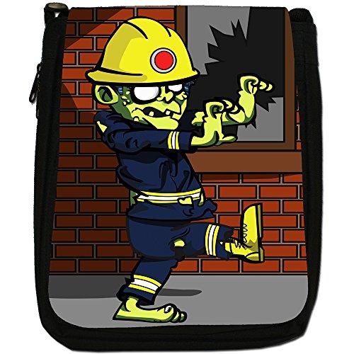 Zombie Plague-The Living Dead-Borsa a tracolla in tela, colore: nero, taglia: M Fireman Zombie