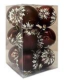 DKB-Tools-Germany 12 Motiv Christbaumkugeln mit Druck Rot/Bordeauxe 6 cm Dekokugeln Weihnachtskugeln Baumkugeln Baumschmuck