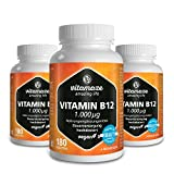 3 Dosen Vitamin B12 hochdosiert Methylcobalamin 1000 µg 180 Tabletten vegan 6 Monatsvorrat Qualitätsprodukt-Made-in-Germany ohne Magnesiumstearat, 30 Tage kostenlose Rücknahme!