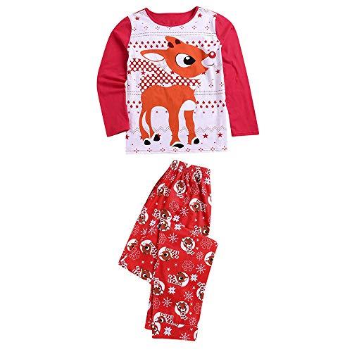 Weihnachten Pyjamas Familie Set Papa Mutter Kind Baby Weihnachts Xmas Schlafanzug Weihnachts Hirsch Print Tops Hose Set Moginp(Mama, Medium)