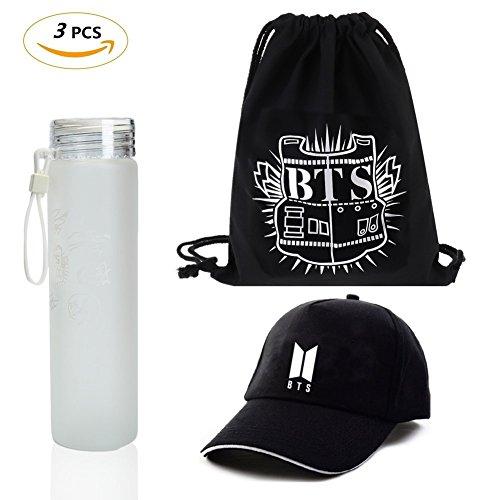 Grapes Garden KPOP BTS Support bangtan Boys Army Bundle, Glas gefrostet grün Wasserflasche 350ml + schwarz Baseball Hut + Sporttasche, Lüfter Armee Love Yourself, Geschenk speziell für die Fans, weiß
