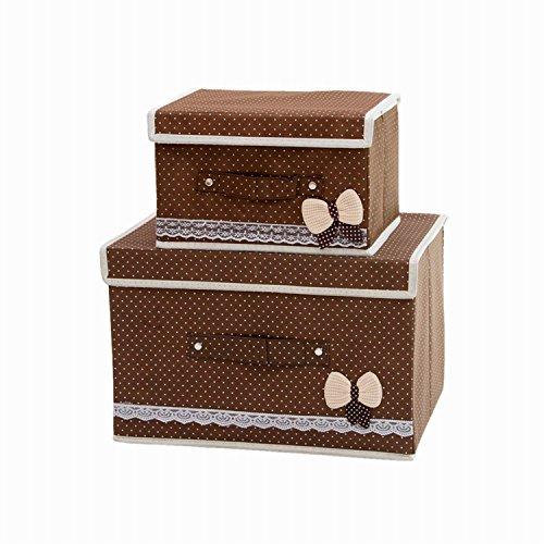 Faltbare Behälter mit Deckel, Aufbewahrungsbox Storage Cube Korb Set von 2, Polka Dot Speicher canbinet braun (Korb Storage-set)