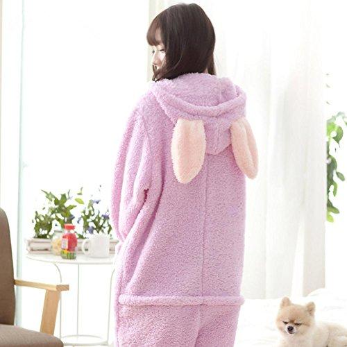 DMMSS Femmes Coral Fleece peignoirs ¨¦pais capuchon Long Ssleeve Pajama ensemble Pink