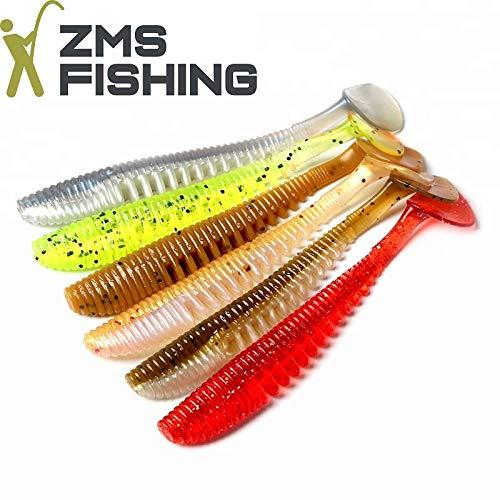 ZMS Fishing -Skelett Shads- 6-Teiliges-Set Gummifische (11 cm/5 g), im Rainbow Set - Ideal für Barsch, Zander, Hecht, Forelle, UVM. Top Angelköder für Raubfische. Ultra Soft.