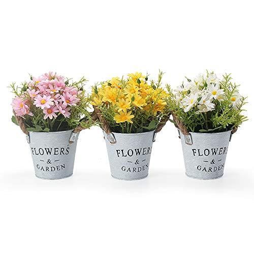 gomaihe 3 pezzi di piante artificiali in vaso, 11 x 20cm mini finte piante fiori finti con vasi, piante artificiali da interno e esterno, piante decorazioni di casa scrivania e cucina, margherita