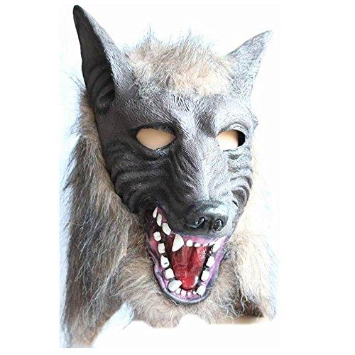 MMRM Männer Wolf-Masken-Halloween Masquerade Werwolf Kostüm Creepy Latex Fur Mane Gag Wolf-latex-maske