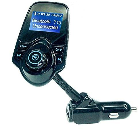 Transmetteur FM Bluetooth Voiture Adaptateur Radio Kit Main Libre Bluetooth Transmetteur Allume Cigare Car Fm Transmitter Veetop Fm Transmetteur Bluetooth, Sans Fil Chargeur Voiture Usb, Recepteur Audio, Lecteur Mp3 Bluetooth pour Smartphones, Tablettes