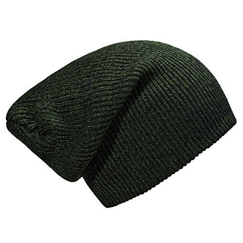 Imagen de dondon gorro de invierno para hombres y mujereso slouch beanie diseño clásico moderno verde  negro