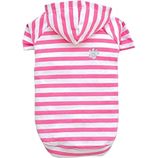 Doggydolly T-Shirt for Dogs in Cotton, Lightweight, XS, Pink Stripes and Hood – 0.06 kg