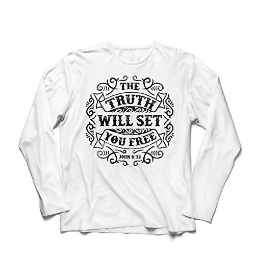 Langarm Herren t shirts Die Wahrheit wird dich befreien - Aktion ist der Beweis des Glaubens - christliche Geschenkideen - Ostern - Auferstehung - religiöse Kleidung (XXX-Large Weiß Mehrfarben)