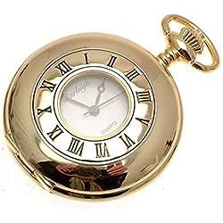 Gold Coloured Half Hunter Quartz Pocket Watch And Chain