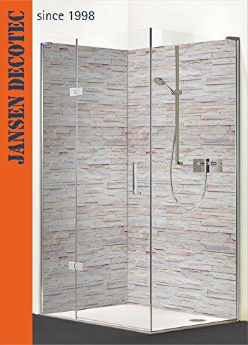 Eck - Duschrückwand, 2 Segmente je 90x200cm, Motiv: Steindecor_Naturstein_hell - KOSTENLOSER Zuschnitt auf Ihr Wunschformat !
